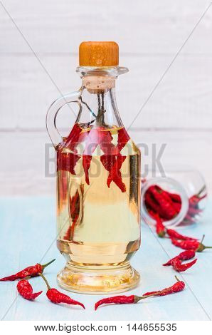 Bottle red Chili Oil and Chili Pepper isolated on white Background