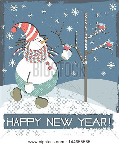 Happy New Year greeting card with cute Snowman and bullfinches. Vector illustration for your designs.