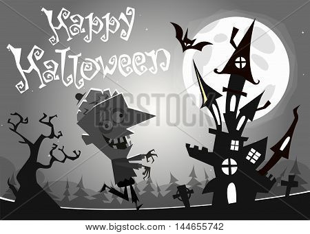 Halloween haunted house on night background with a walking dead zombie. Vector illustration. Black and white