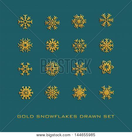 Set of golden vector snowflakes icon. Collection graphic art for your design Merry Christmas and Happy New Year
