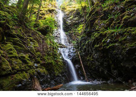 Beautiful waterfall in Vancouver island, Canada