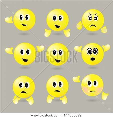 set surround Yellow face with different emotions