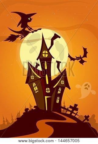 Halloween haunted house cartoon. Vector illustration of a scary hounted house with a full moon in background