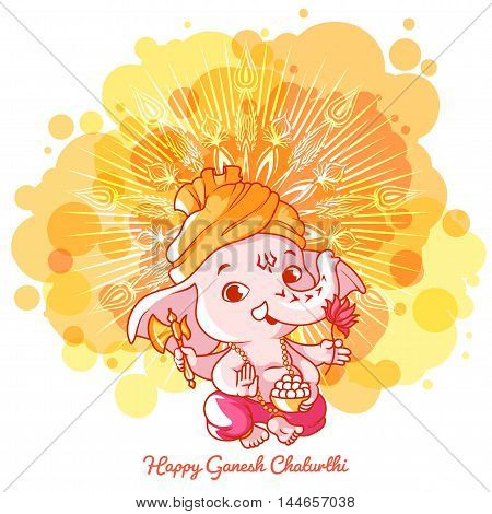 Greeting card for Ganesh birthday: Happy Gahesh Chaturthi. Vector cartoon illustration on a yellow spotted background with mandala.