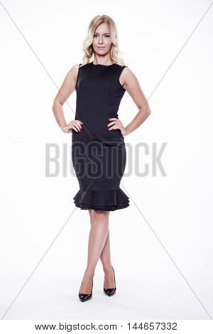 Silhouette of a beautiful young adult attractive sexy and sensuality pretty blonde woman elegance business style dress, Isolated on white background