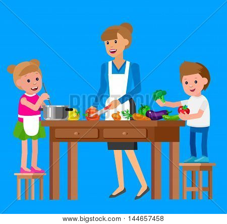 Cute vector character child and healthy food, cook with mother. Happy kid helping mum prepare food