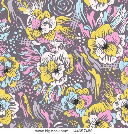 Seamless abstract vector floral pattern. Colorful background with hand drawn flowers
