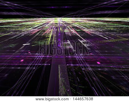 Abstract digitally generated dark tecnology backdrop with randomly spaced straight lines, horizon, perspective and light effects