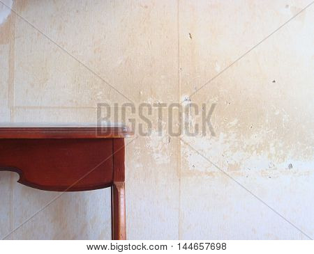 the desk on the background of vintage wall