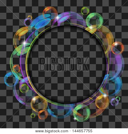 Abstract banner with transparent bubbles. Vector background.