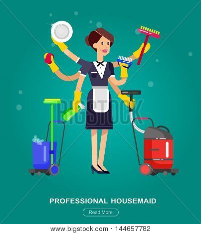 Poster design for cleaning service and supplies. Vector detailed character professional housekeeper