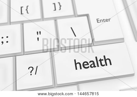 Computer Keyboard With The Word Health On A Key As A Hot Button 3d illustration