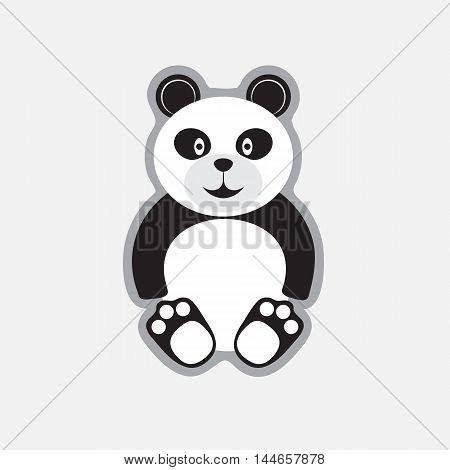 Cartoon panda. Funny bear in flat outlline style for posters, invitations, post cards.