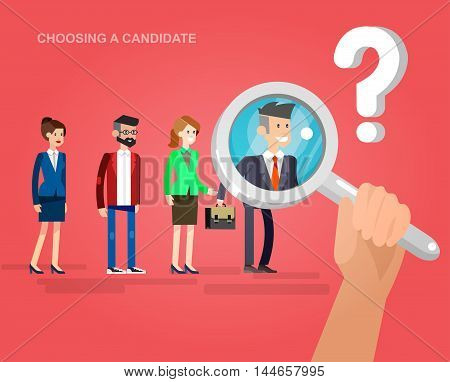 Hiring process concept with candidate selection. Vector detailed character