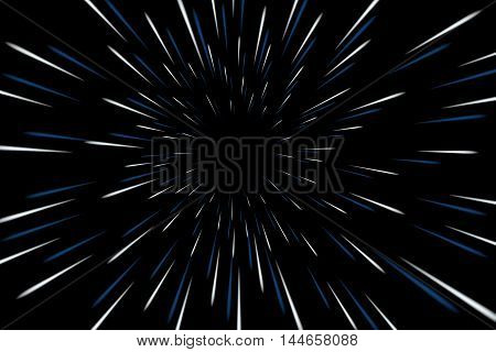 Warp stars galaxy vector illustration. Zoom in light speed space
