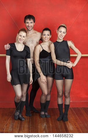 Male And Female Ballet Dancers In Studio