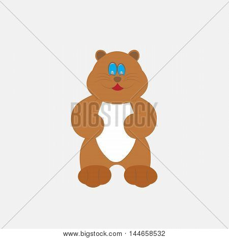Cartoon beaver. Funny  bear in flat outlline style for posters, invitations, post cards.