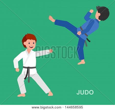 Cute vector character child. Illustration for martial art. Kid wearing kimono and training judo