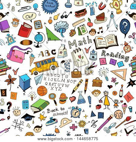 School childish bright background with detailed elements