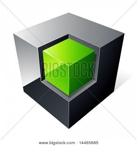 Green cube design