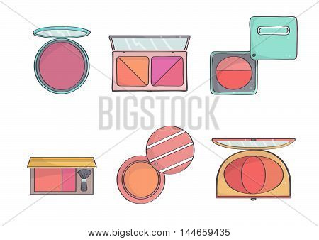 Set of colorful, stylish blushes. Blush makeup collection, isolated.