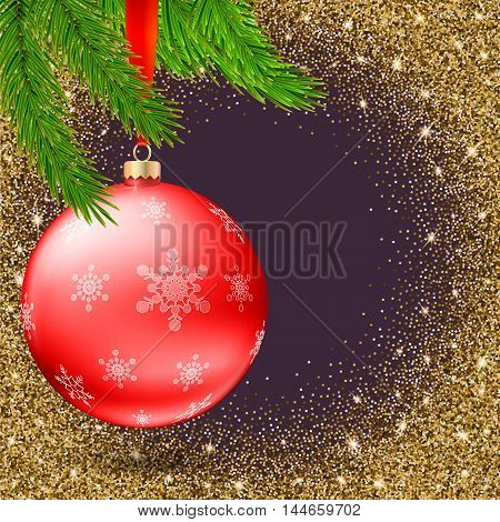 Red Christmas ball with snowflakes and branches of fir tree on shiny, sparkling background, realistic 3D vector illustration Christmas composition greeting card for your friends and partners.