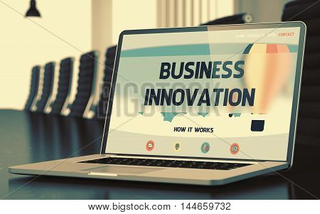 Mobile Computer Display with Business Innovation Concept on Landing Page. Closeup View. Modern Meeting Room Background. Toned. Blurred Image. 3D Render.