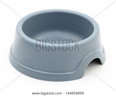 Grey cat's plastic bowl on white background.