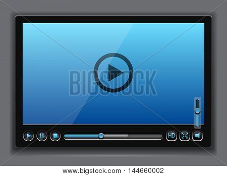 Blue glossy video player template , vector eps10 illustration