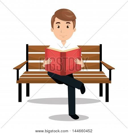 man reading textbook icon vector illustration design