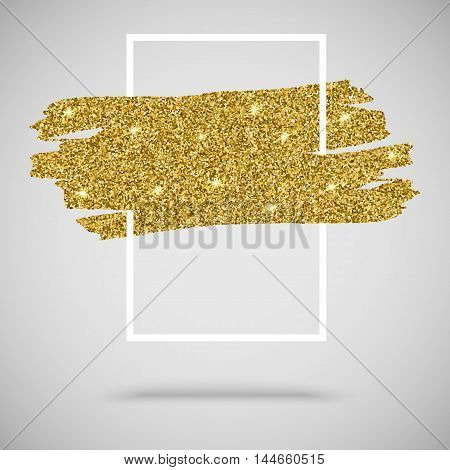 Gold sparkles, glitter background with frame for greeting card, certificate, luxury design and presentation