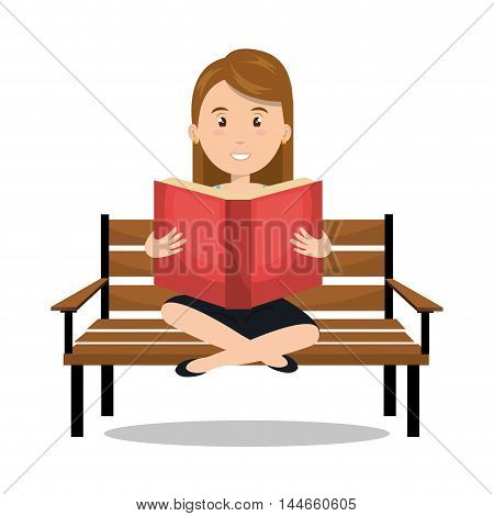 woman reading textbook icon vector illustration design