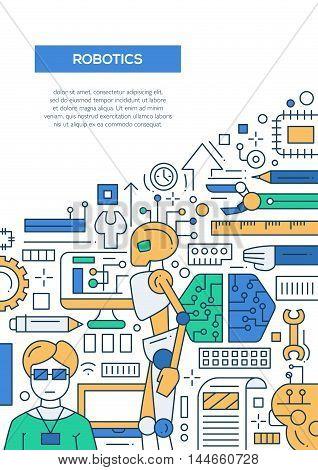 Robotics - vector line design brochure poster, flyer presentation template, A4 size layout. Robots, smart technology