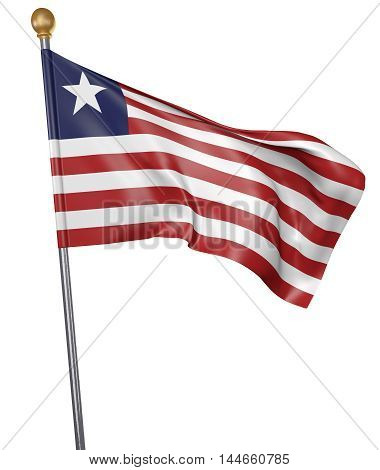 National flag for country of Liberia isolated on white background, 3D rendering