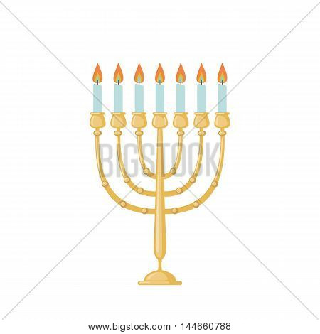 Menorah icon in flat style isolated on white background. Vector illustration.
