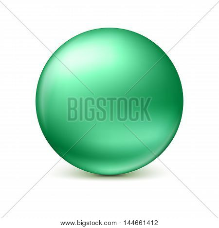 Green glossy sphere isolated on white with shadow and reflections in the color of the sphere. Vector illustration for your design, easy to edit and change the size
