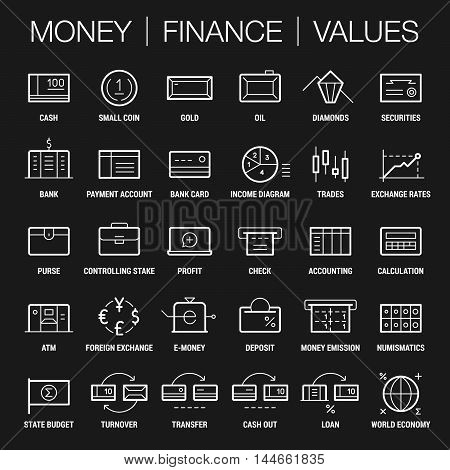 Icons set of money, finance and values area. Thick and thin lines. White on black.
