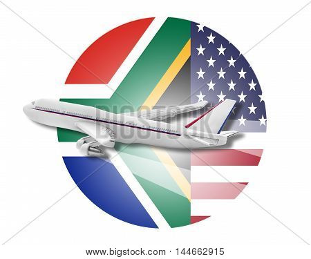 Plane on the background flags of the United States and South Africa.