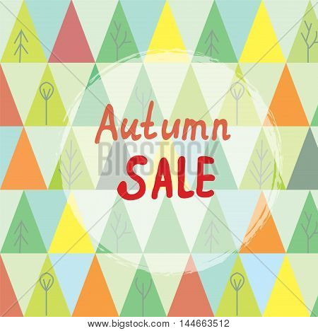 Autumn sale banner with trees in abstract style vector graphic illustration