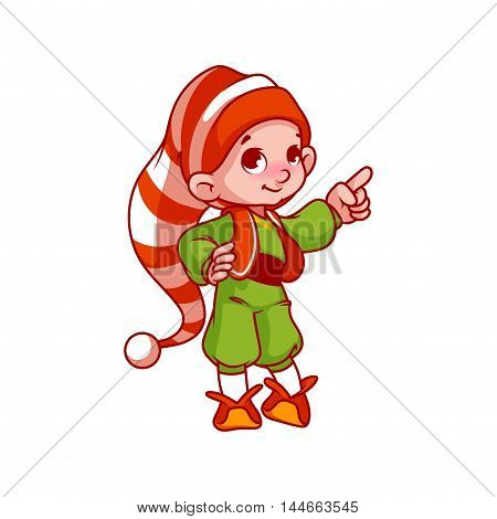 Little Santa's Helper Pointing His Finger.