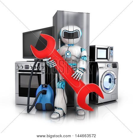 Robot repair consumer electronicsFridgewasher and electric-cooker (done in 3d rendering)