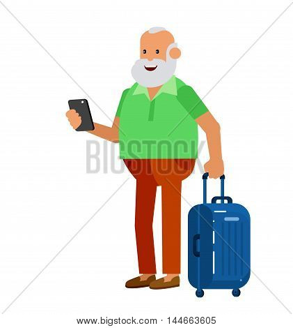 vector detailed character age traveler. Old men retired tourist summer vacation. Active senior