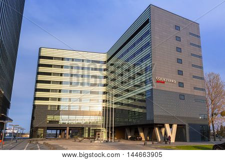 GDYNIA, POLAND - APRIL 8, 2016: Modern architecture of Marriott Courtyard hotel. Marriott Courtyard with 200 rooms is located at Baltic Sea in the city center of Gdynia.