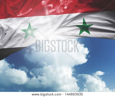 Syria flag on a beautiful day
