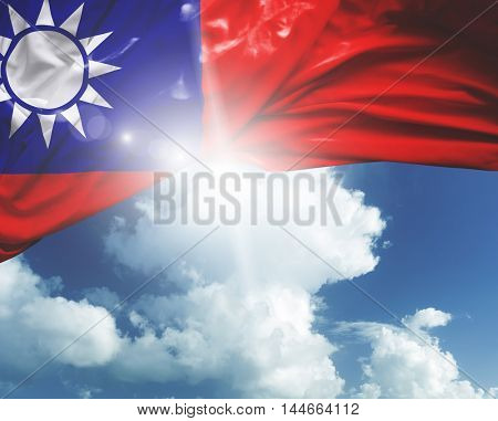 Taiwan flag on a beautiful day