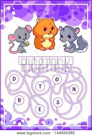 Educational puzzle game with cute animals. Find the hidden word. Cartoon vector illustration.