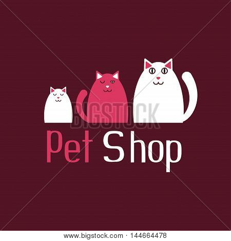 Cat sign for pet shop logo, store icons, kitten and kitty, vector illustration