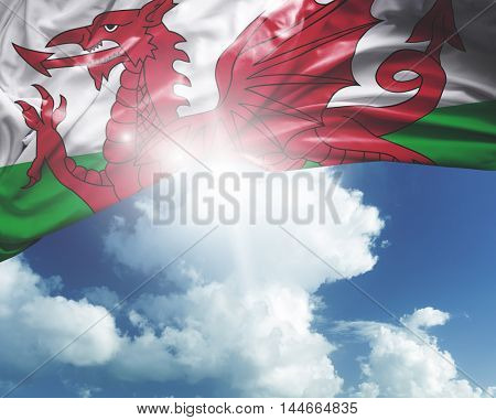 Wales flag on a beautiful day