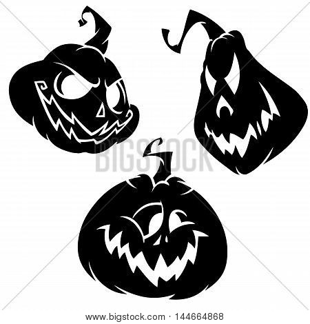 Vector set of scary Halloween pumpkin head with various expressions. White outline on white isolated background