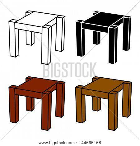 3D simple wooden table black symbol vector